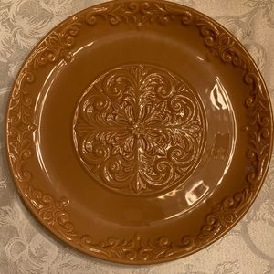 Taupe Round Platter Serving Tray